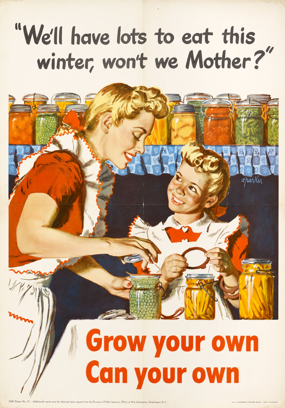 Poster depicting a mother and daughter standing at a kitchen table canning fruits and vegetables