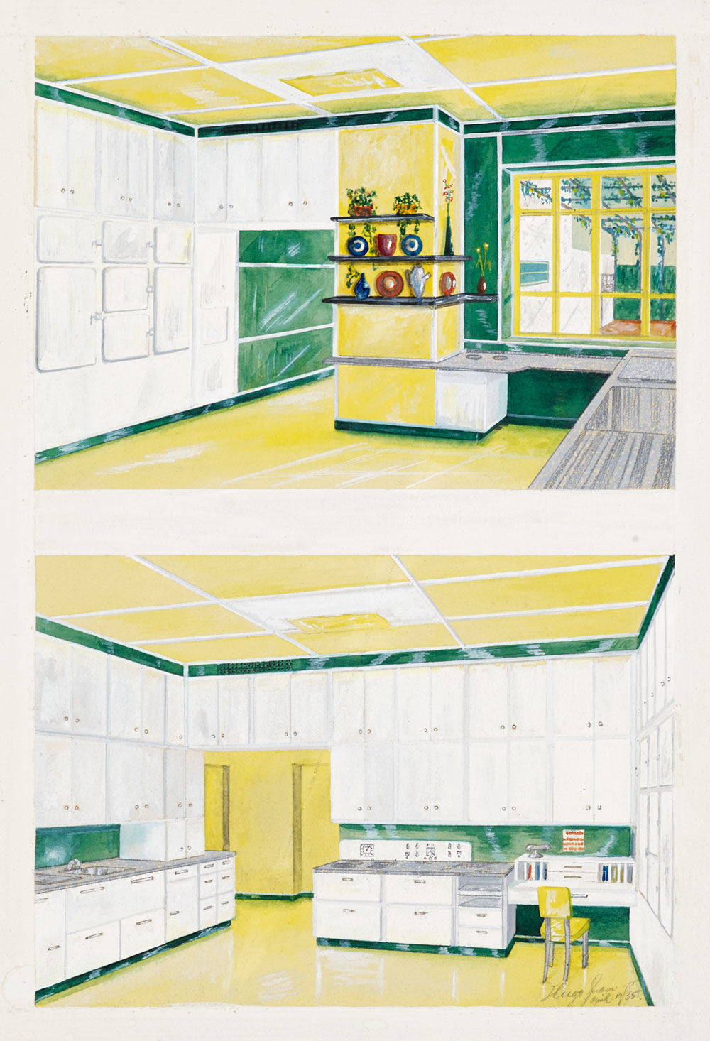 1930s design drawing of a kitchen