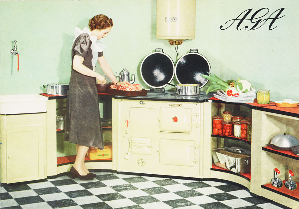 Advertisement showing a woman prepping a meal in a kitchen