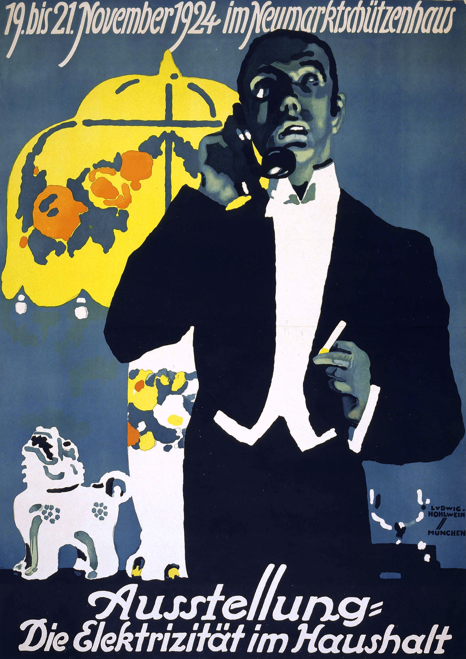 Poster showing a man using a telephone