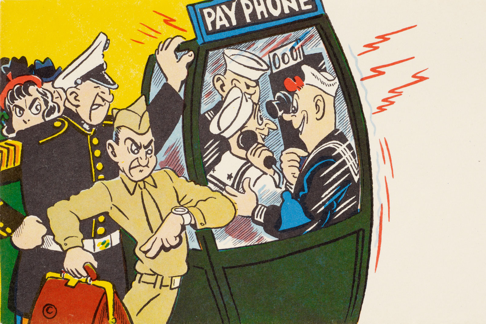 Envelope showing people fighting over a payphone