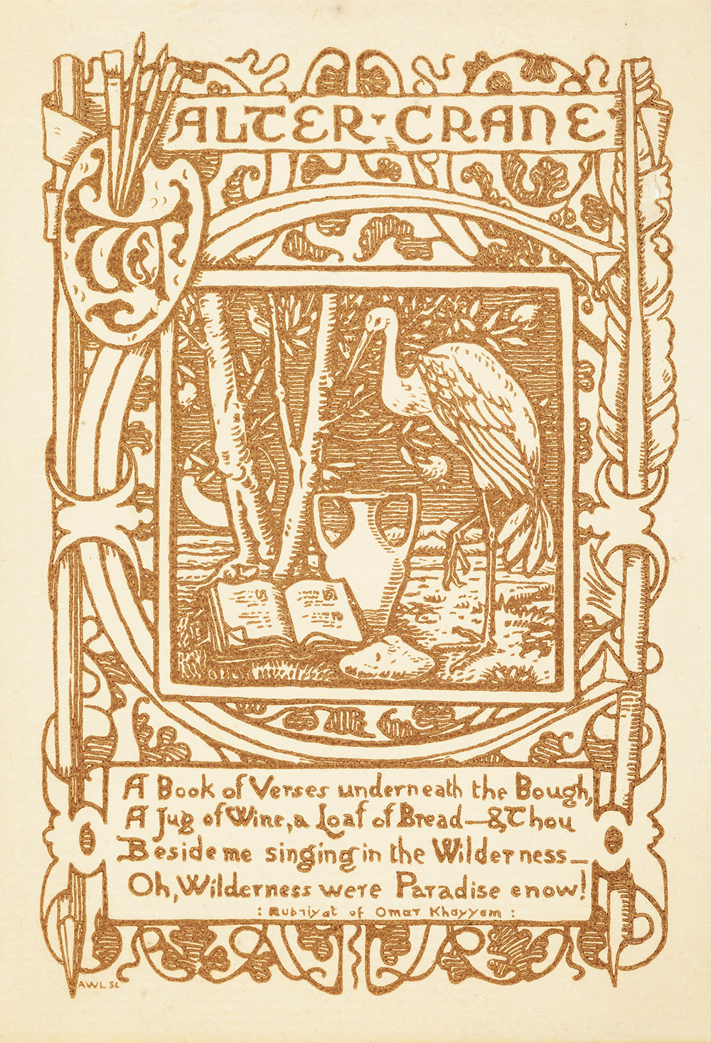 Bookplate from Walter Crane's book of verses