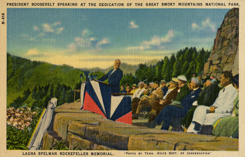 Postcard depicting President Roosevelt speaking at the dedication of the Great Smoky Mountains National Park