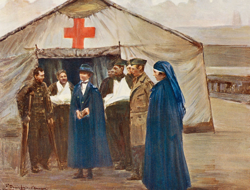 Illustration showing the American Red Cross in France, 1918
