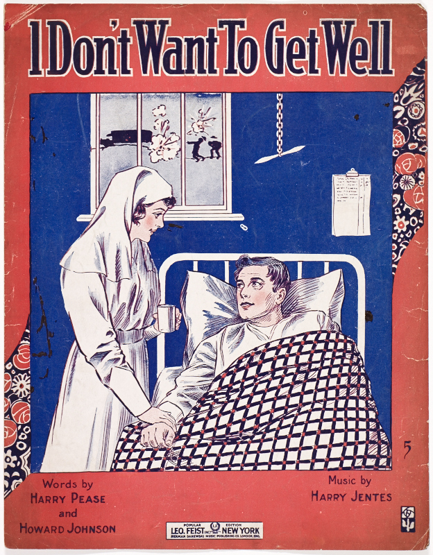 Sheet music cover with red, white, and blue illustration of a nurse holding the hand of a wounded American soldier convalescing in a hospital bed