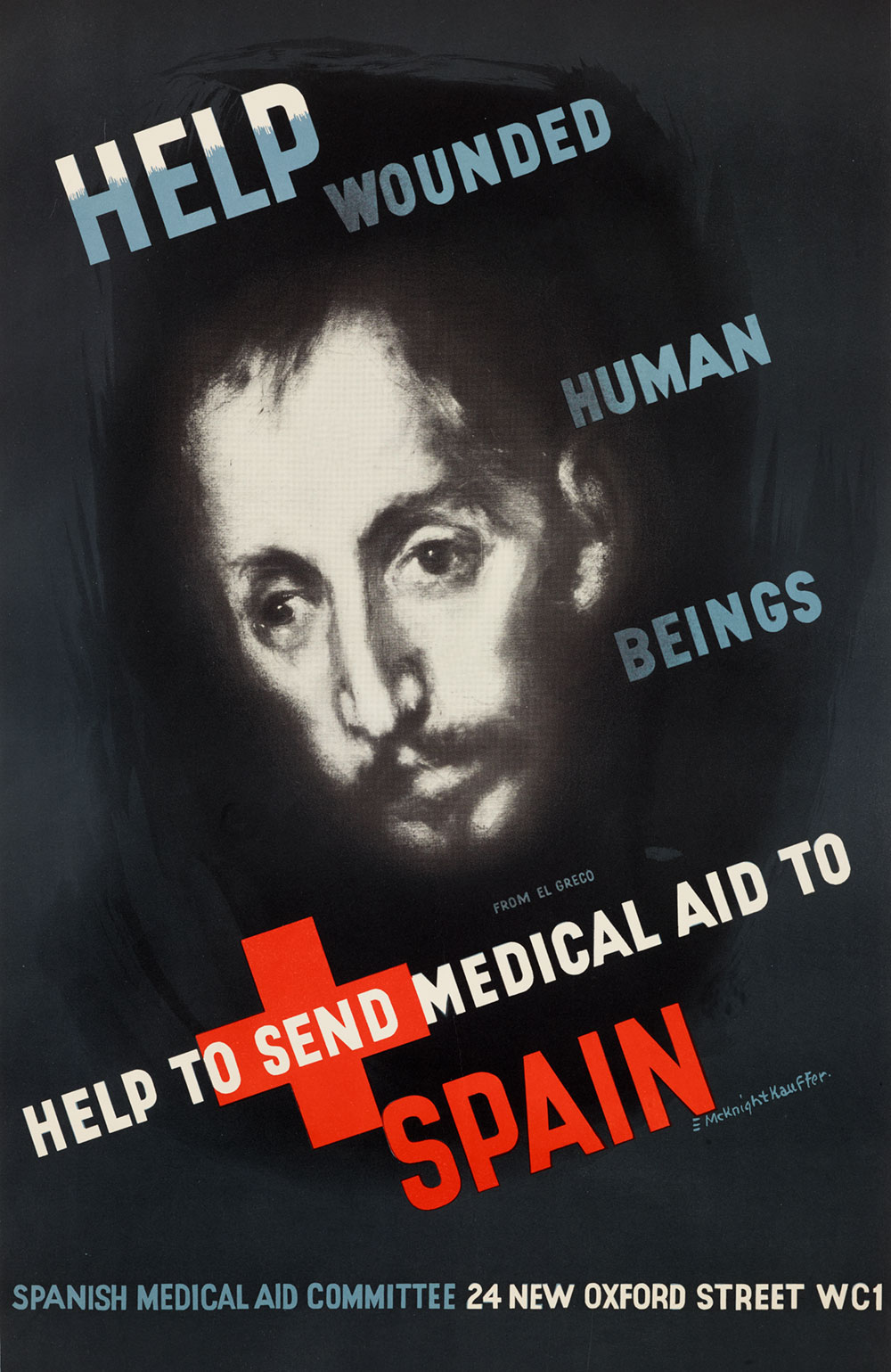 Poster depicting a glowing head which resembles El Greco's Saint Luke surrounded by white and blue text asking for medical aid