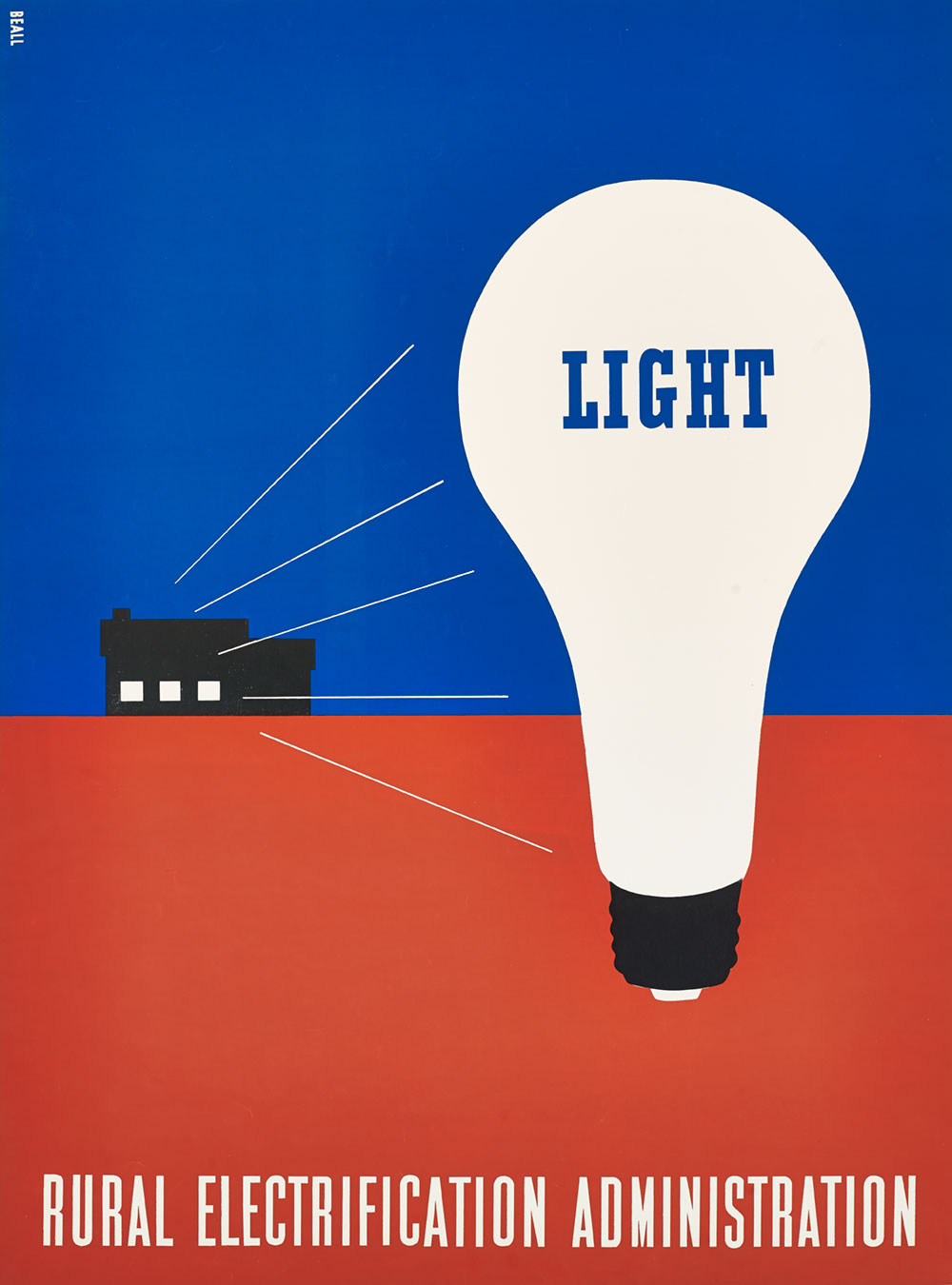 Rural Electrification Administration poster with a large white light bulb