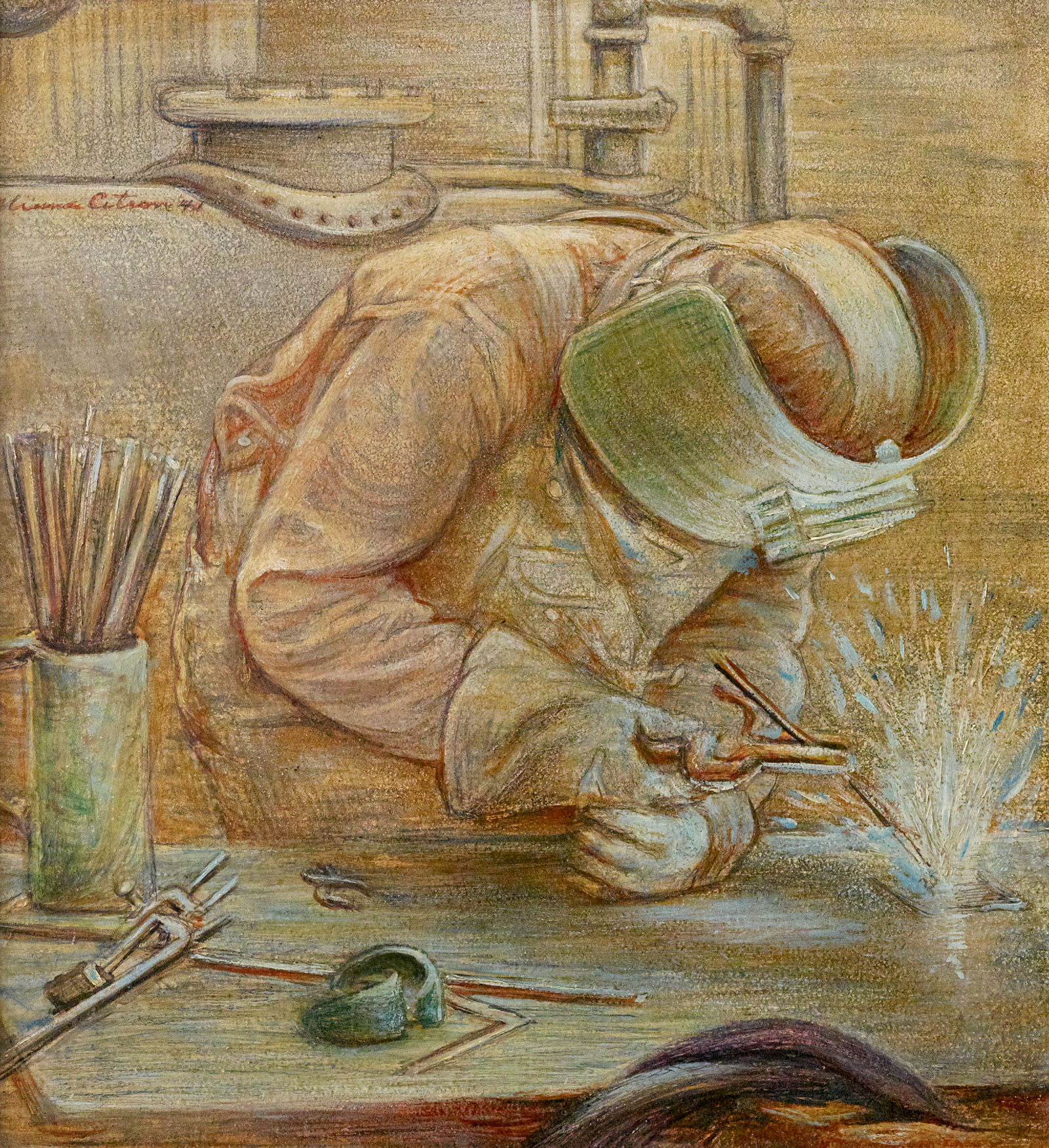 Painting of a welder wearing a mask