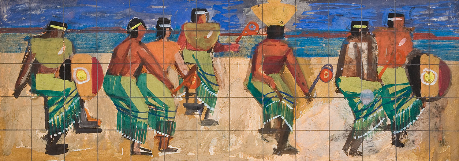 Mural study of an Apache dance