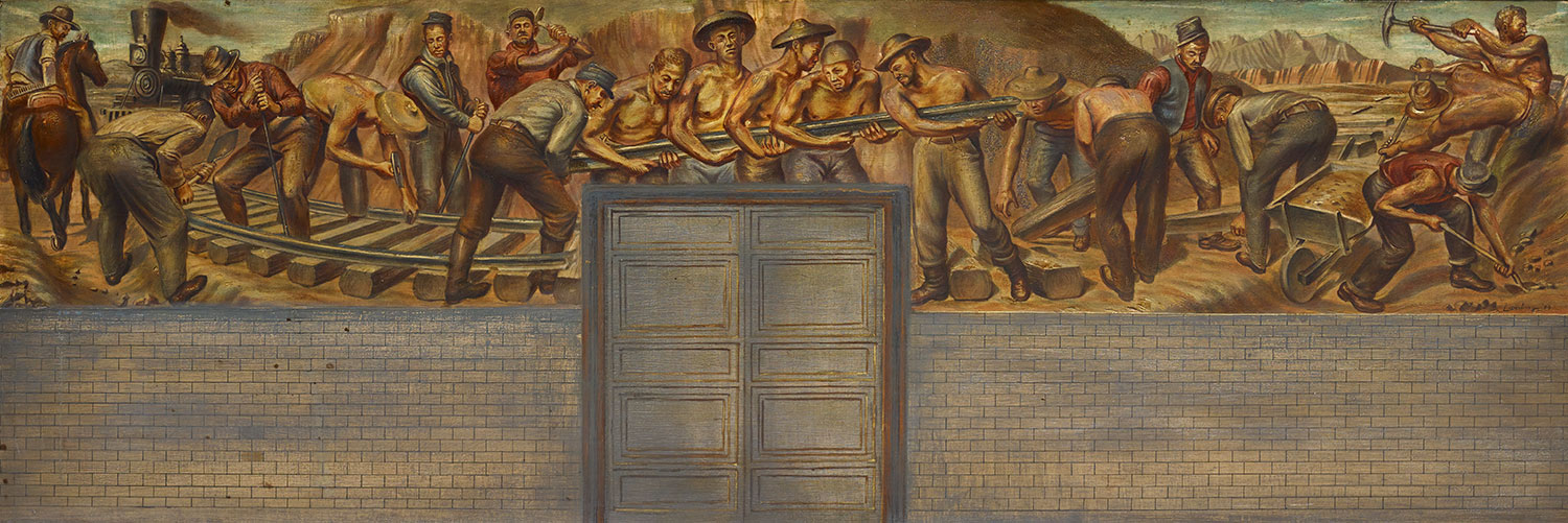 Mural study depicting workers building the Transcontinental Railroad