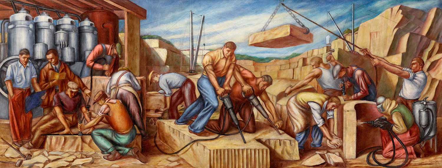 Mural study of a granite quarrying scene