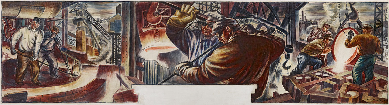 Mural study celebrating the steel industry