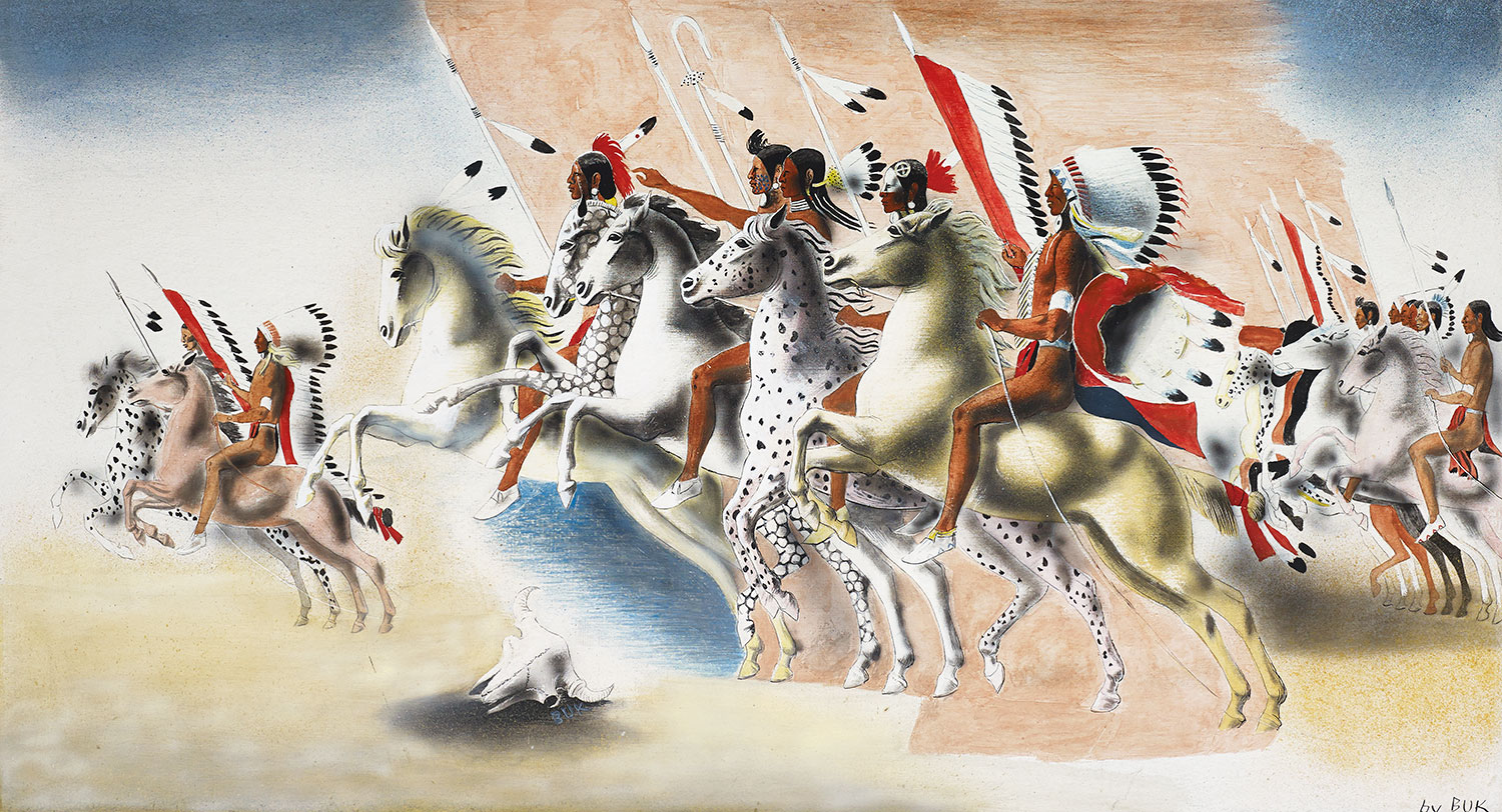 Mural study depicting American Indians on horseback