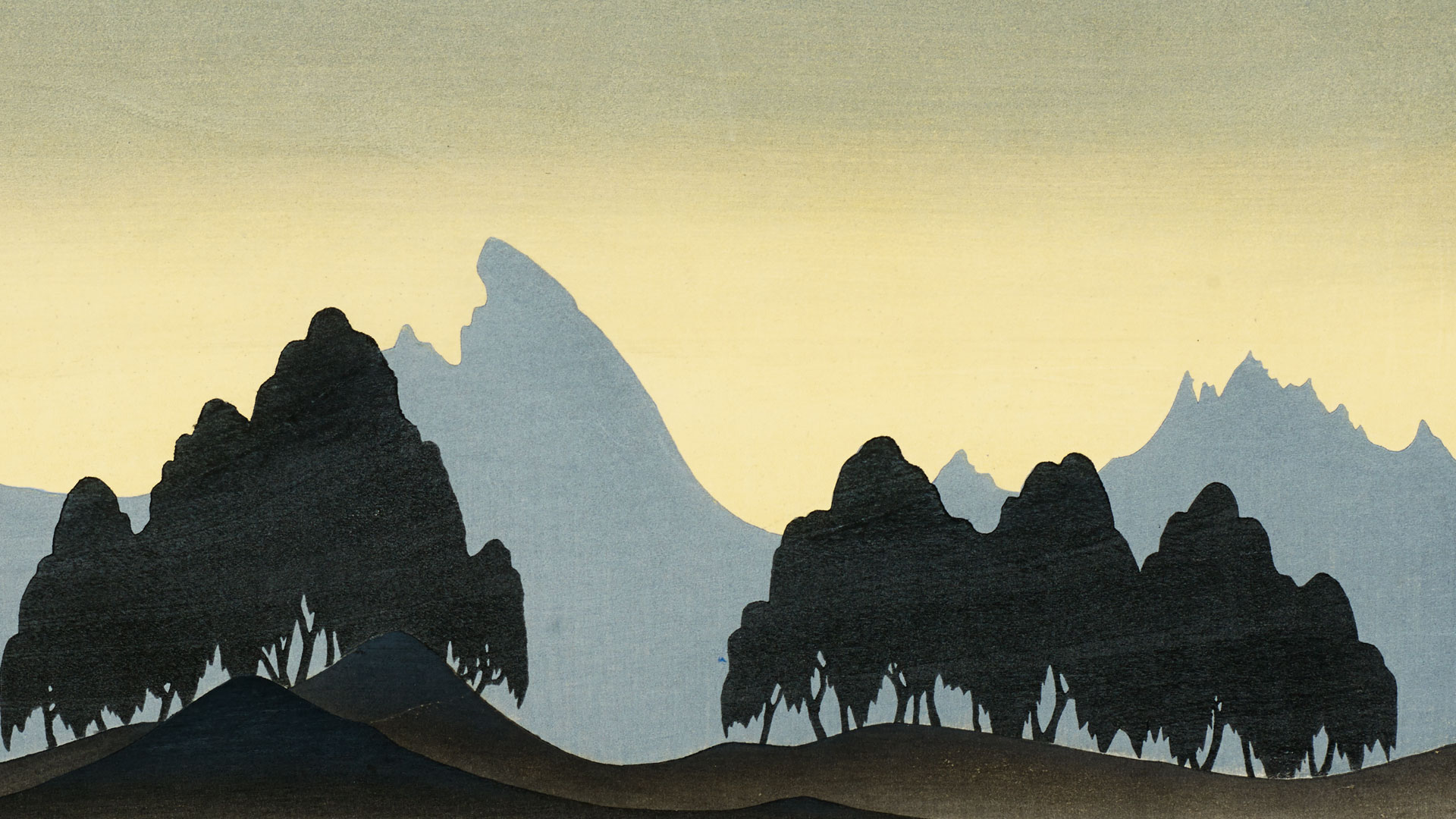 Woodcut print of a scenic landscape in Korea