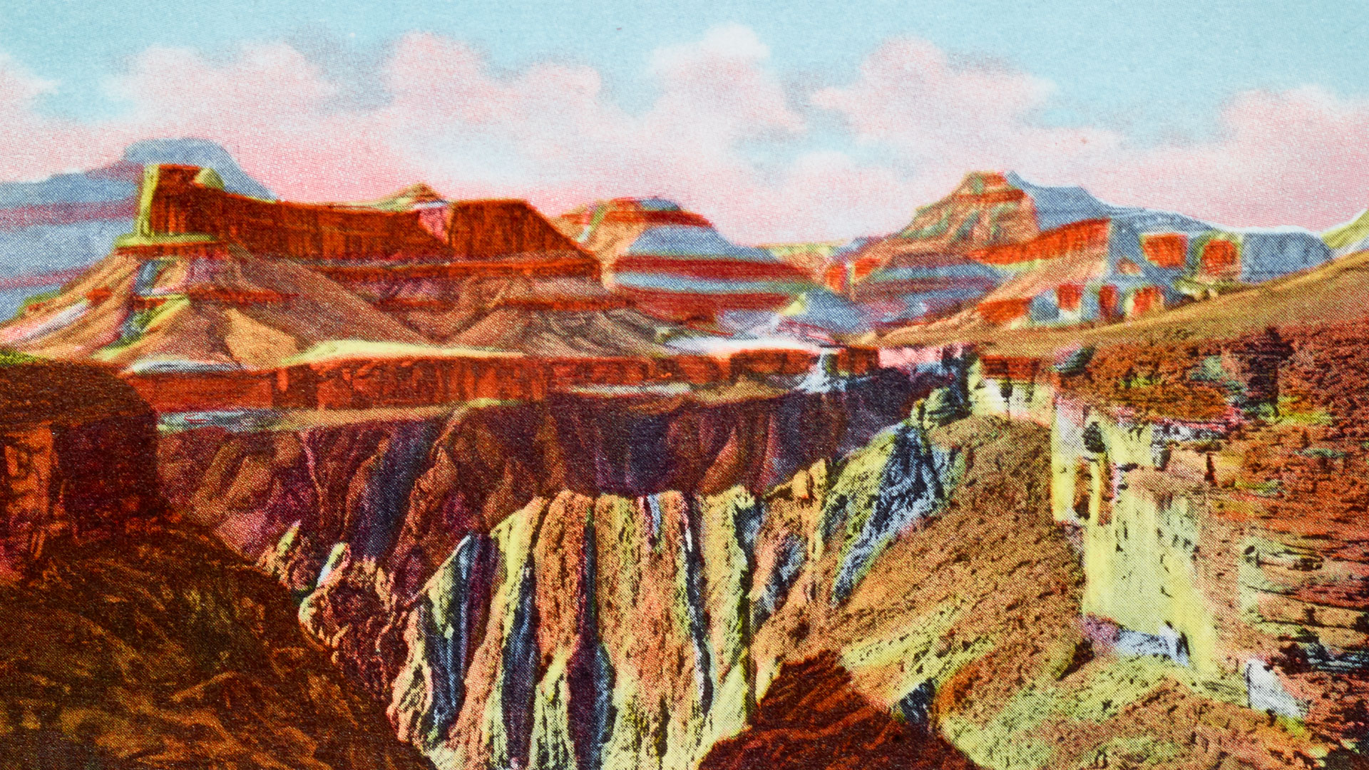 Postcard illustration of the Grand Canyon