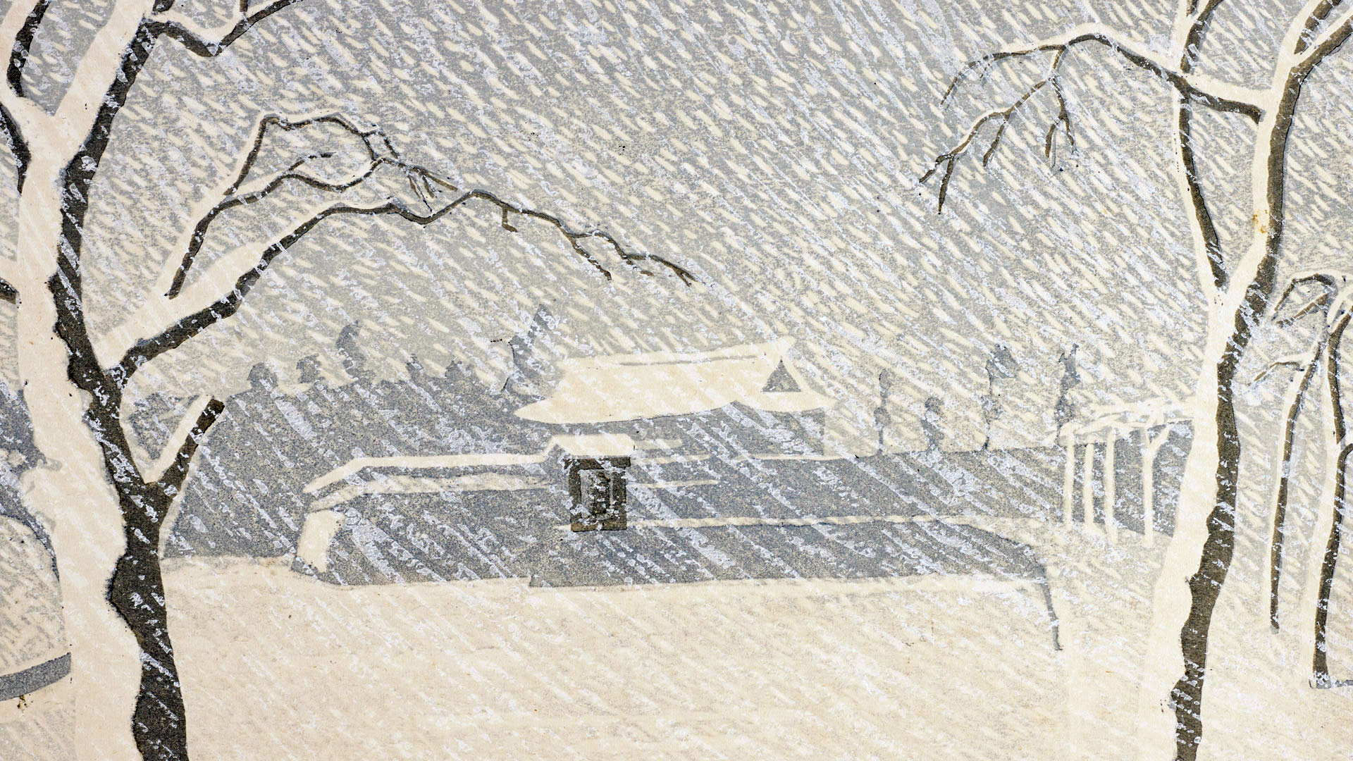Woodcut print depicting snow at Sukurada Gate, Tokyo Imperial Palace