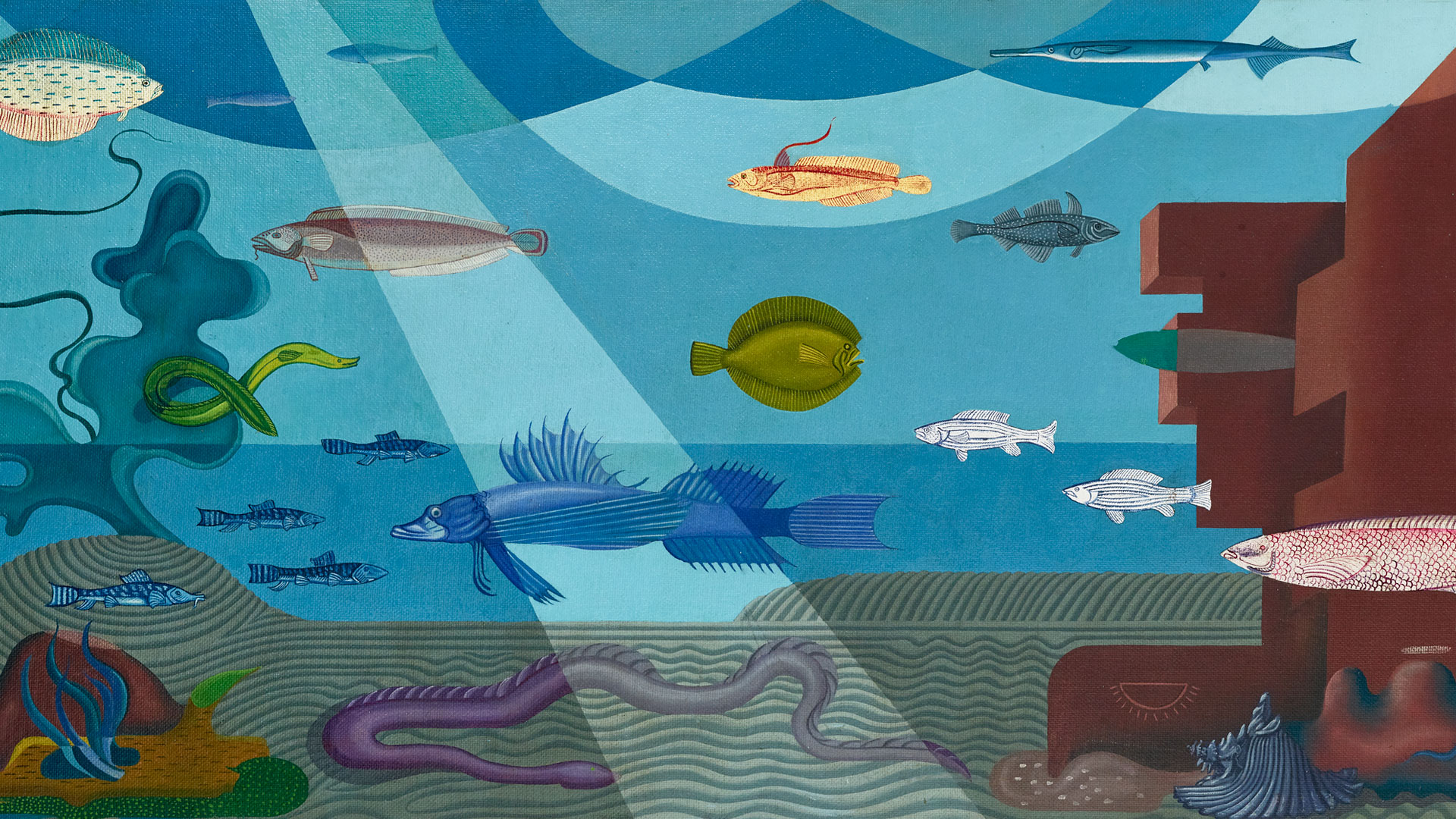 Mural study depicting an underwater environment complete with stylized ruins