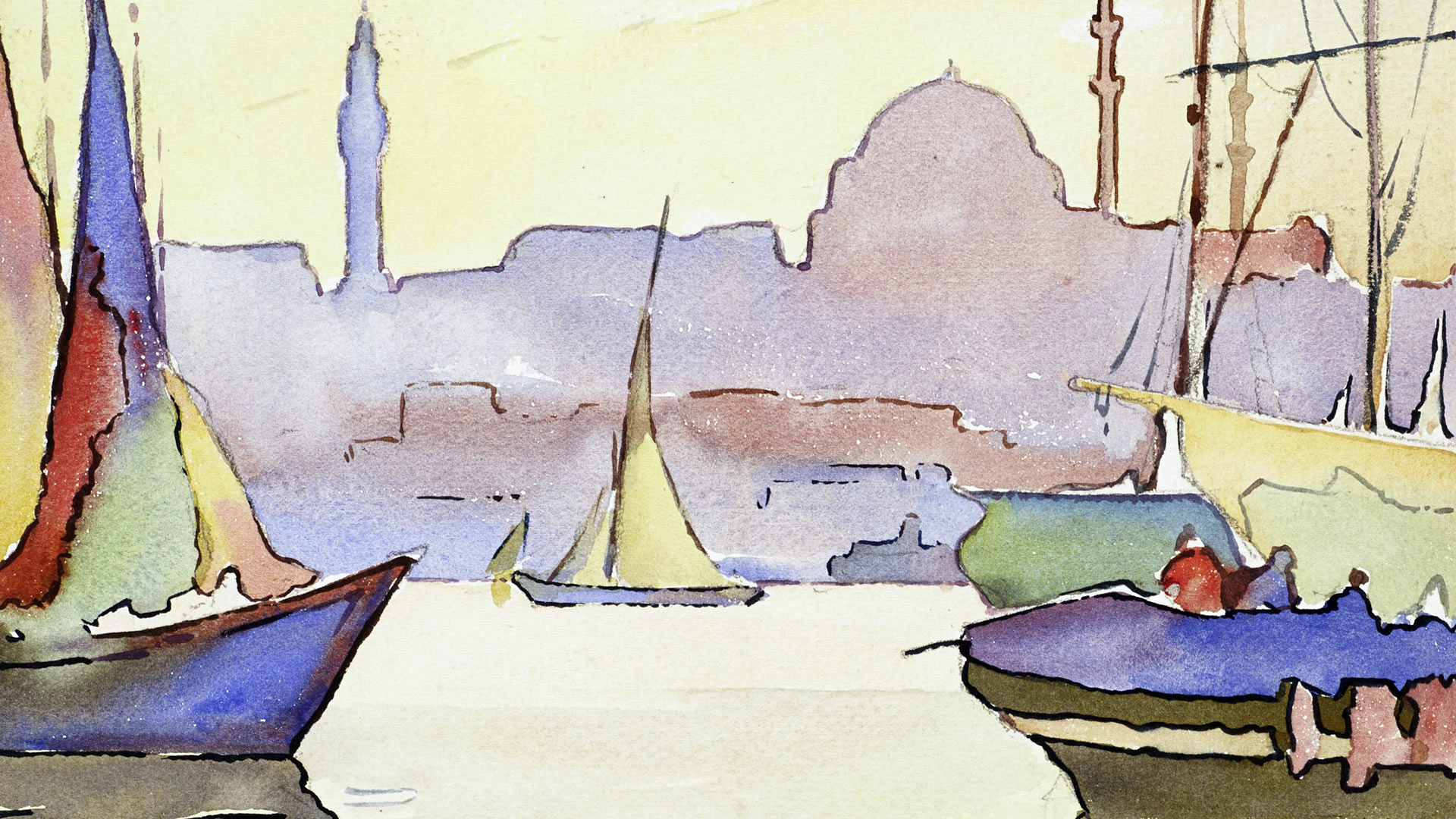 Watercolor painting of a sunset scene with sailboats