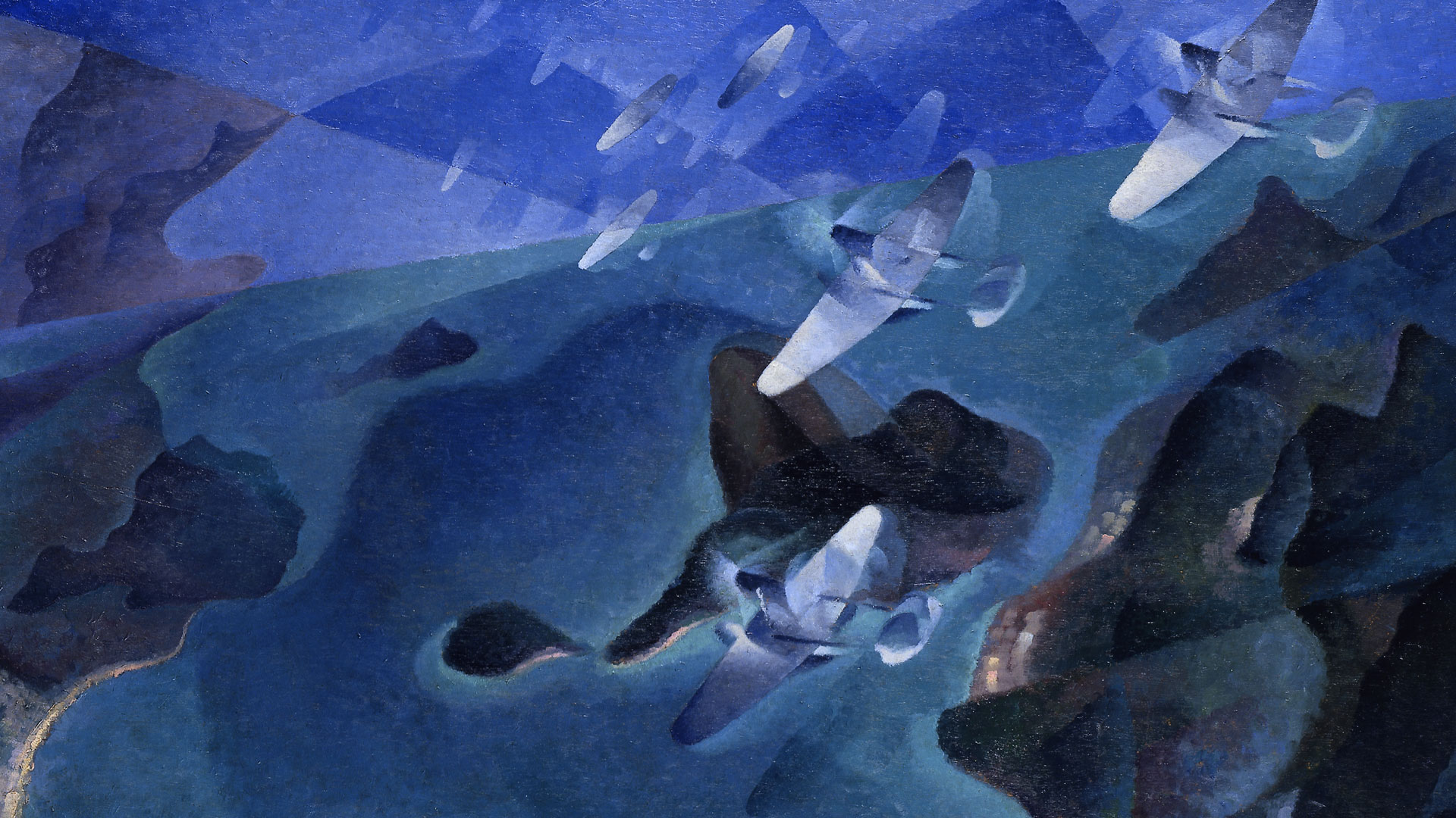 Futurist painting with soaring and circling airplanes