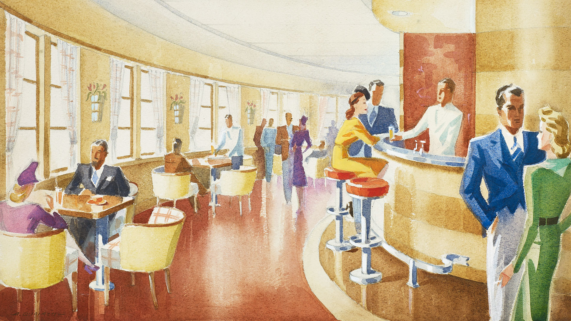 Design drawing of an ocean liner bar and lounge