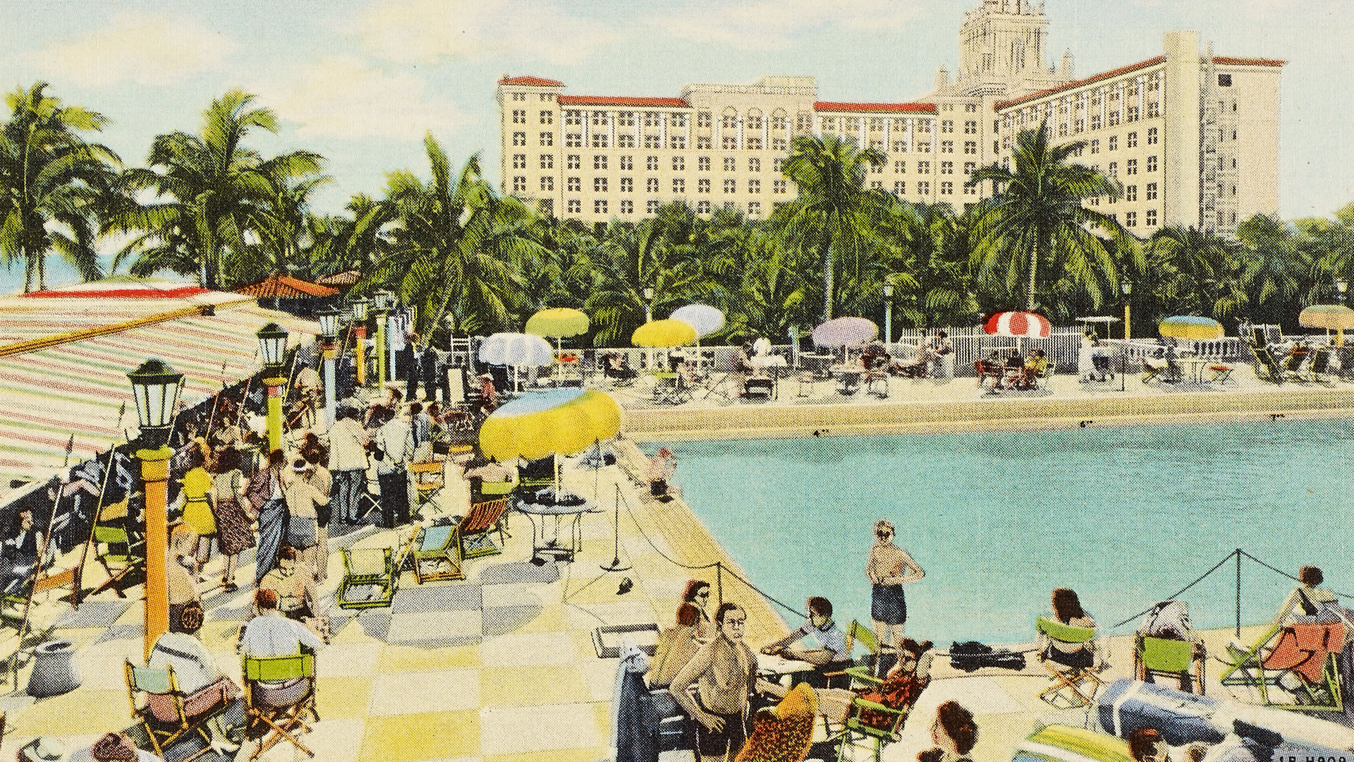 Postcard of a hotel club and pool