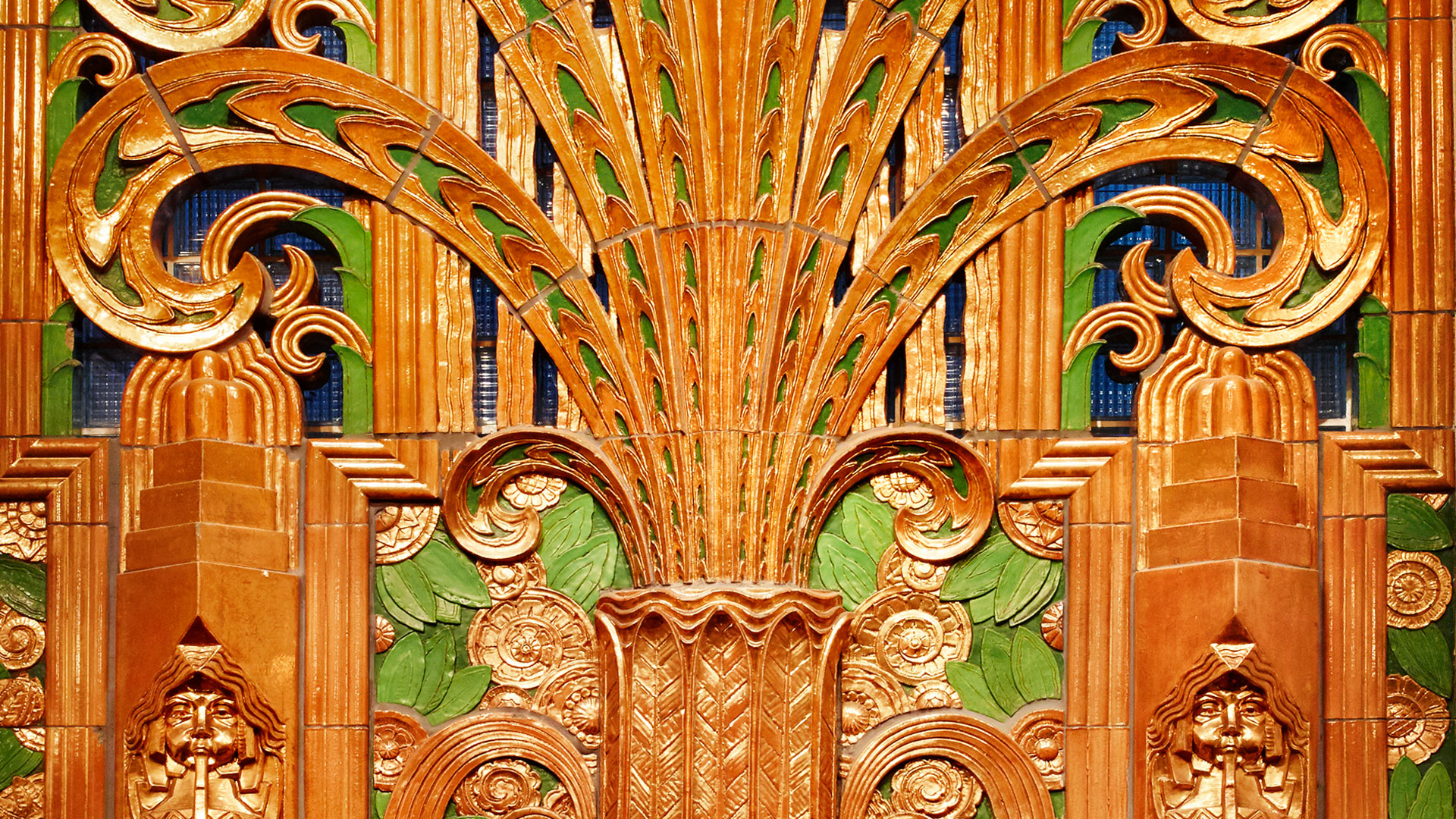 Art Deco terra cotta grille depicting a frozen fountain and palm tree
