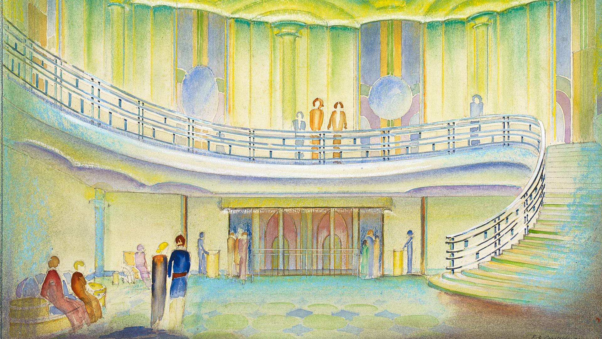 Watercolor study of a theatre lobby