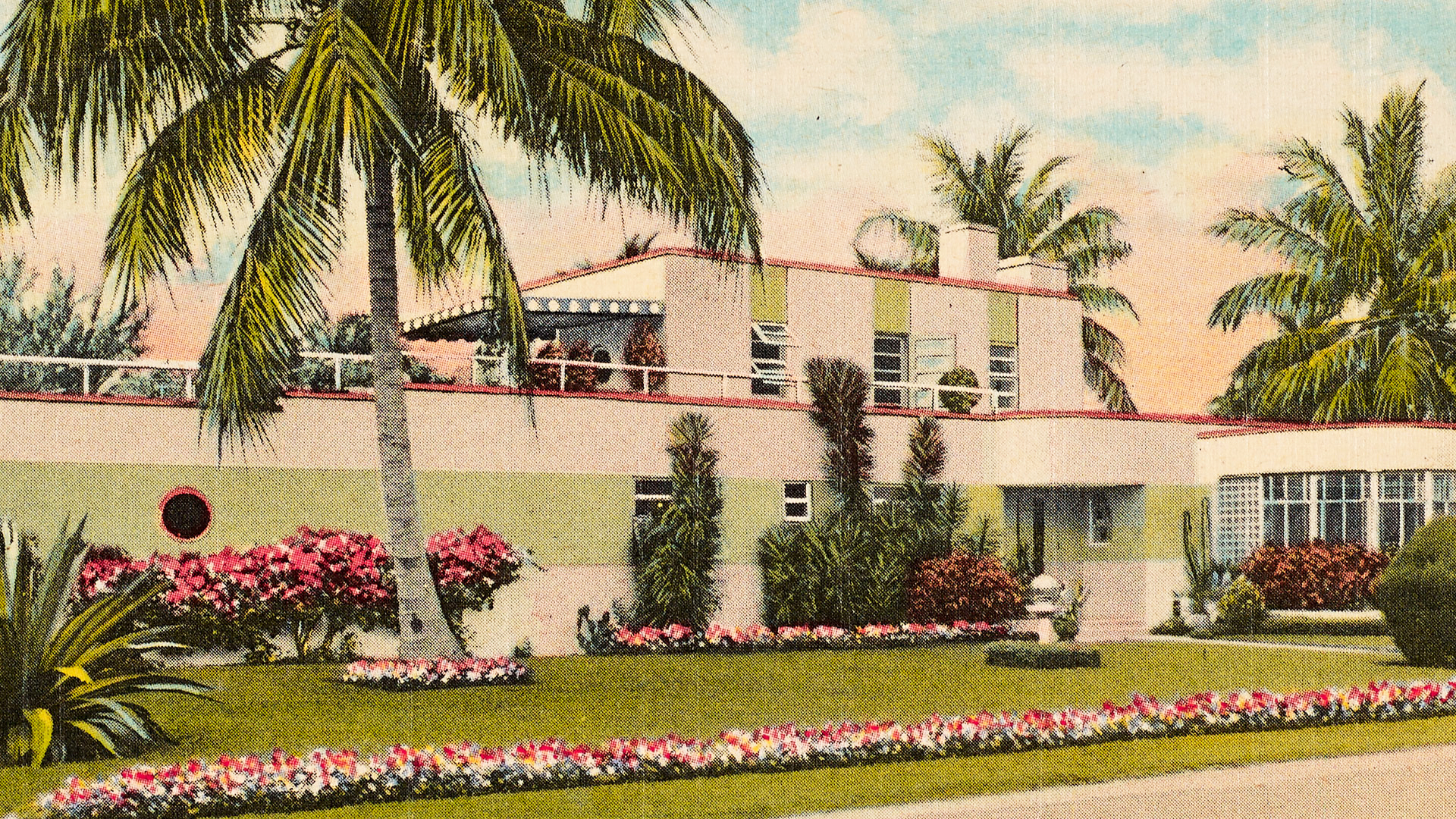 Postcard of a modernistic Miami Beach home