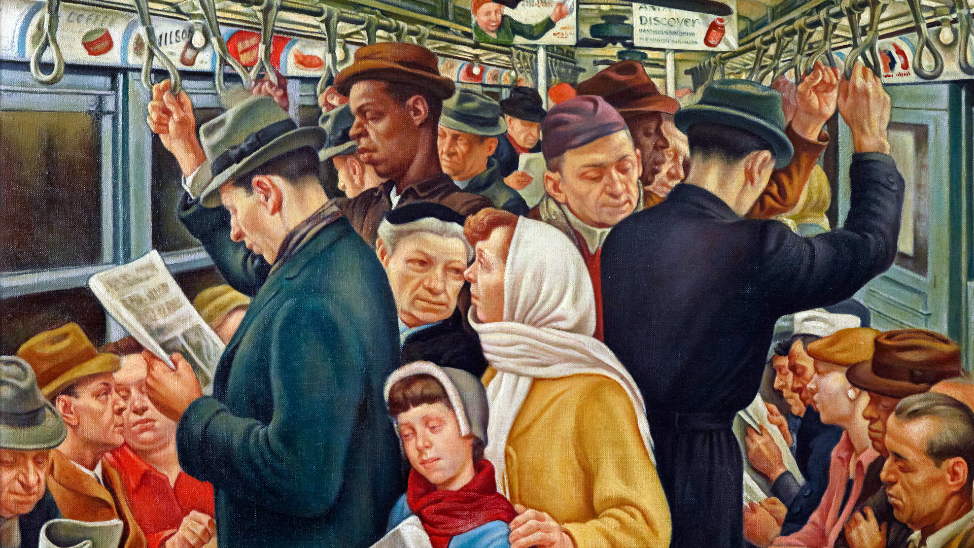 Painting of a crowded subway train