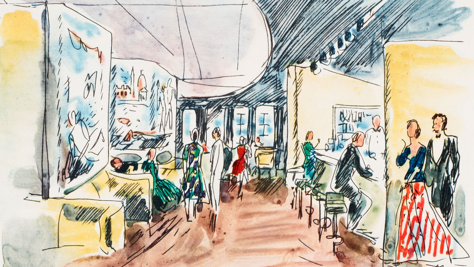 Illustration of a cruise ship lounge